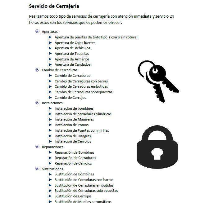 ofrecemos servicios de cerrajeros en valencia capital